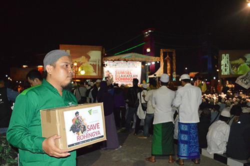 penggalangan donasi untuk Rohingya di makam amal dan tabligh akbar Sabtu (9/9) di pelataran BKB, Palembang
