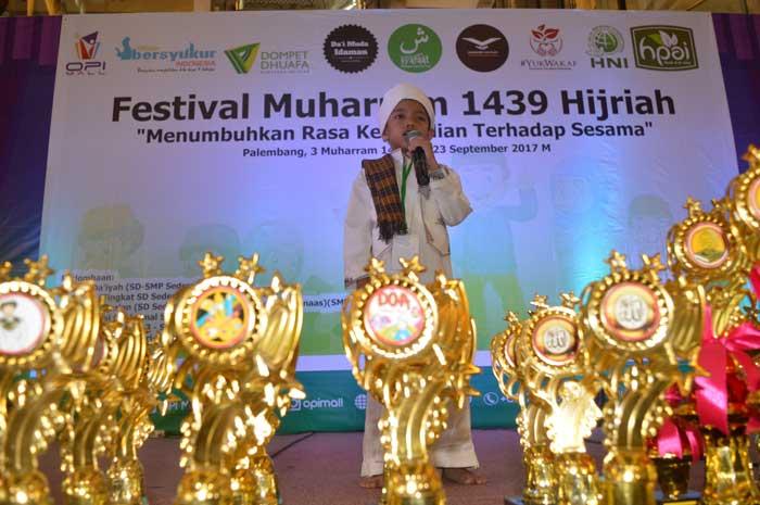 Aksi salah satu peserta Da'i Festival Muharram bersama DD Sumsel, Sabtu (23/9)